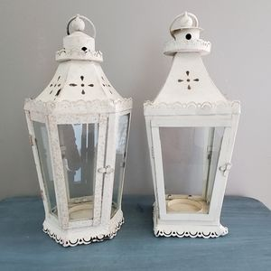 Two Rustic Candle Lanterns